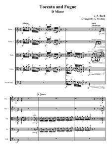 Toccata and Fugue in D Minor, BWV 565: para quartetos de cordas by Johann Sebastian Bach