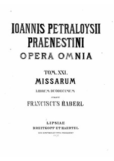 Masses: Book XII by Giovanni da Palestrina