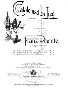Catalan Song for Harmonium (or Organ) and Piano (or Harp), Op.40: Partitura completa by Franz Poenitz