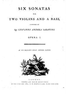 Six Sonatas for Two Violins and Basso Continuo, Op.1: violino parte II by Giovanni Andrea Sabatini