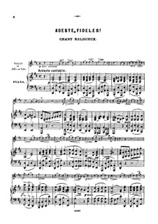 O Come All Ye Faithful: For violin (or flute, or cello) by John Francis Wade