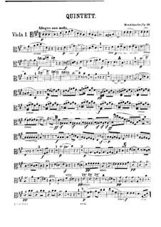 String Quintet No.1 in A Major, Op.18: viola parte I by Felix Mendelssohn-Bartholdy
