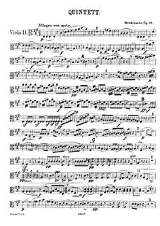 String Quintet No.1 in A Major, Op.18: viola parte II by Felix Mendelssohn-Bartholdy