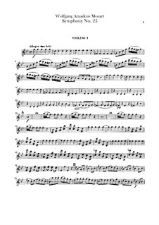 Symphony No.25 in G Minor, K.183: parte violinos by Wolfgang Amadeus Mozart
