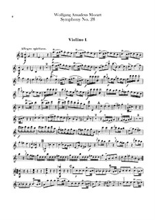 Symphony No.28 in C Major, K.200: parte violinos by Wolfgang Amadeus Mozart