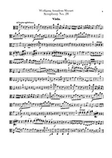 Symphony No.28 in C Major, K.200: parte viola by Wolfgang Amadeus Mozart