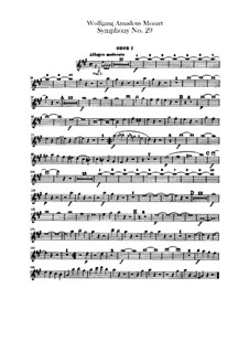 Symphony No.29 in A Major, K.201: parte de oboes by Wolfgang Amadeus Mozart
