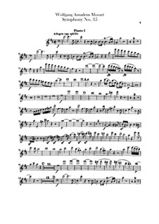 Symphony No.35 in D Major 'Haffner', K.385: parte de flautas by Wolfgang Amadeus Mozart