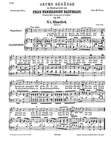 Six Songs, Op.34: Partitura piano-vocal by Felix Mendelssohn-Bartholdy