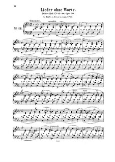 Songs without Words, Op.38: set completo by Felix Mendelssohn-Bartholdy
