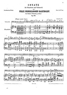 Sonata for Cello and Piano No.2 in D Major, Op.58: partitura by Felix Mendelssohn-Bartholdy