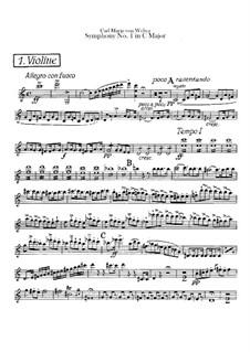 Symphony No.1 in C Major, J.50 Op.19: violinos parte I by Carl Maria von Weber
