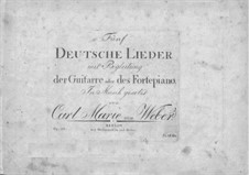 Five German Songs for Voice and Guitar (or Piano), Op.25: partitura by Carl Maria von Weber