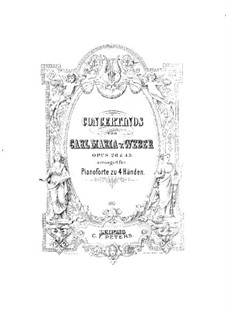 Concertino for Clarinet and Orchestra, J.109 Op.26: versão para piano de quatro mãos by Carl Maria von Weber