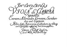 Tablature for Viola da Gamba: Tablature for Viola da Gamba by Johann Christoph Ziegler