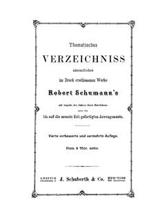 Verzeichniss: Verzeichniss by Robert Schumann