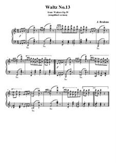 Waltz No.13: arranjos para piano (versão simples) by Johannes Brahms