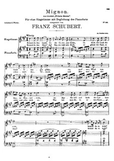 Mignon's Song (Chant de Mignon), D.321: A maior by Franz Schubert