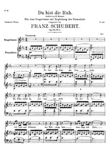 Du bist die Ruh (You are Repose), D.776 Op.59 No.3: Partitura piano-vocal by Franz Schubert