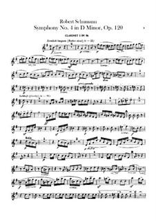 Symphony No.4 in D Minor, Op.120: parte clarinetas by Robert Schumann