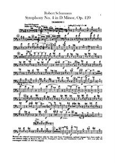 Symphony No.4 in D Minor, Op.120: parte trombones by Robert Schumann