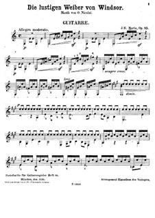Transcription on Theme from 'The Merry Wives of Windsor' by O. Nicolai, Op.85: Transcription on Theme from 'The Merry Wives of Windsor' by O. Nicolai by Johann Kaspar Mertz