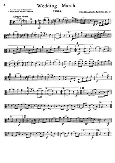 Wedding March: Viola, cello and double bass parts by Felix Mendelssohn-Bartholdy