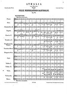 Musik zu Athalia (Music to Athalie), Op.74: abertura by Felix Mendelssohn-Bartholdy