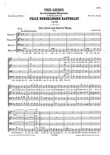 Four Songs for Male Choir, Op.76: set completo by Felix Mendelssohn-Bartholdy
