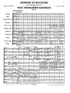 Die Heimkehr aus der Fremde (Son and Stranger), Op.89: abertura by Felix Mendelssohn-Bartholdy