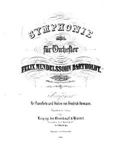 Symphony No.4 in A Major 'Italian', Op.90: versão para violino e piano by Felix Mendelssohn-Bartholdy