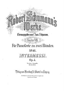 Six Intermezzi, Op.4: set completo by Robert Schumann