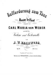 Invitation to the Dance, J.260 Op.65: For violin and cello by Carl Maria von Weber