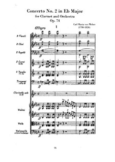 Concerto for Clarinet and Orchestra No.2, J.118 Op.74: partitura completa by Carl Maria von Weber