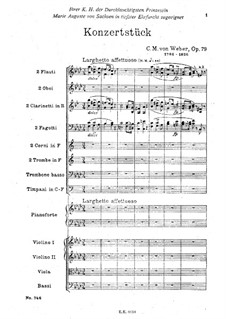 Concert Piece for Piano and Orchestra, J.282 Op.79: partitura completa by Carl Maria von Weber