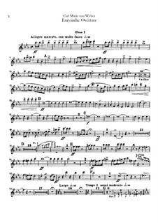 Overture: parte de oboes by Carl Maria von Weber