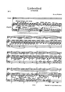 The Valkyrie , WWV 86b: Siegmund's Love Song, for violin and piano by Richard Wagner