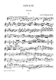 Sonata in D Minor for Violin and Piano, Op.26: Parte de solo by Lothar Windsperger