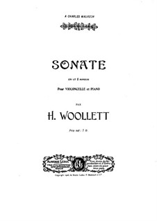 Sonata for Cello and Piano: partitura by Henry Woollett