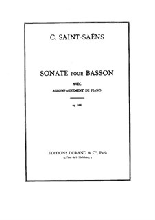 Sonata for Bassoon and Piano in G Major, Op.168: Score by Camille Saint-Saëns