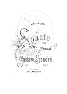Sonata in D Minor for Cello and Piano, Op.3: Score by Gustave Sandré