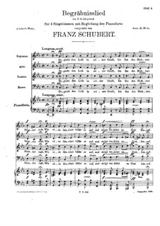 Begräbnislied (Funeral Song), for Four Voices and Piano, D.168: Begräbnislied (Funeral Song), for Four Voices and Piano by Franz Schubert
