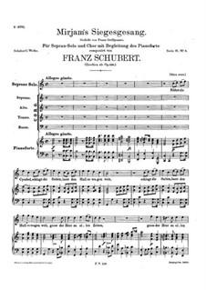 Song of Miriam, D.942 Op.136: Partitura piano-vocal by Franz Schubert