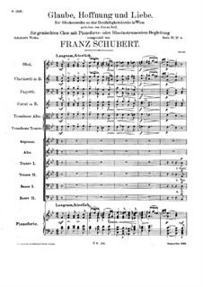 Glaube, Hoffnung und Liebe (Faith, Hope and Love), D.954: For choir and piano (or winds) by Franz Schubert