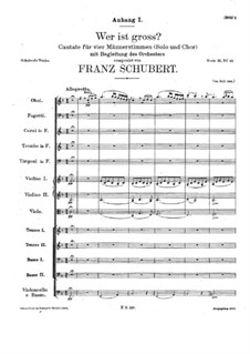 Wer ist gross. Cantata for Soloists, Choir and Orchestra, D.110: Wer ist gross. Cantata for Soloists, Choir and Orchestra by Franz Schubert
