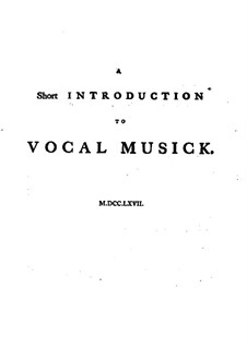 A Short Introduction to Vocal Musick: A Short Introduction to Vocal Musick by Granville Sharp