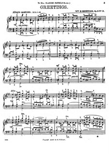 Suite for Piano, Op.5: No.3 Greetings by William H. Sherwood