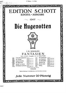 Fantasia on Themes from 'Les huguenots' by Meyerbeer, Op.31: Parte de solo by Jean Baptiste Singelée