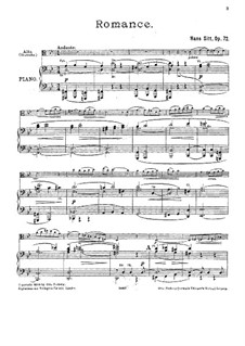 Romance for Viola and Piano, Op.72: Score for two performers, Parte de solo by Hans Sitt