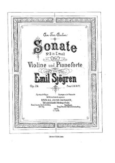 Sonata for Violin and Piano No.2, Op.24: partitura by Emil Sjögren